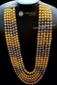 TWO TONE SILVER AND GOLDEN METAL BALLS 5 LAYERS LONG MALA