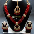 GOLDEN BASED POLKIE STONES 4 LAYERS NECKLACE SET