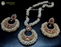 TRADITIONAL LOOK POLKIE & SEMI PRECIOUS STONES GAJRA BEATS NECKLACE SET