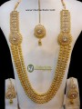 TRADITIONAL LOOK POLKIE STONES 3 LAYERS GOLDEN BALLS LONG MALA NECKLACE SET