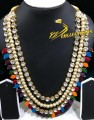 GOLDEN BASED KUNDAN STONES NAURATAN 3 LAYERS MALA