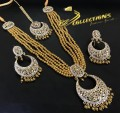 TRADITIONAL LOOK POLKIE STONES GOLDEN BALLS NECKLACE SET