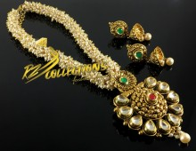 TRADITIONAL LOOK FINE QUALITY GAJRA BEATS PENDANT SET
