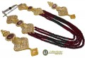 DECENT LOOK GOLD PLATED ZIRCON & SEMI PRECIOUS STONES 5 LAYERS MALA NECKLACE SET