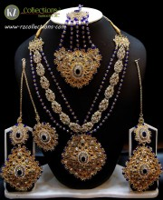 TRADITIONAL LOOK POLKIE STONES GOLDEN BASED COMPLETE BRIDAL SET