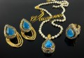 GOLD RHODIUM PLATED SEMI PRECIOUS STONES PENDANT SET MATCHING RING