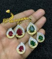 GOLD PLATED ZIRCON SEMI PRECIOUS STONES PENDANT SET