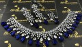Silver Plated with Zircon Stones Indian NECKLACE SET