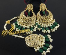 TRADITIONAL LOOK POLKIE STONES GAJRA BEATS EARRING MATCHING TEEKA