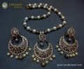 GOLDEN ANTIQUE BASED POLKIE STONES MALA NECKLACE SET