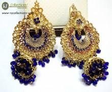 TRADITIONAL LOOK POLKIE STONES GOLDEN BASED JHUMKI