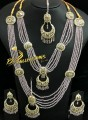 TRADITIONAL LOOK POLKIE STONES GOLDEN BASED 5 LAYERS MALA & NECKLACE COMPLETE BRIDAL SET