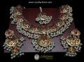 TRADITIONAL LOOK HYDERABADI DESIGN GOLDEN BASED NAURATAN NECKLACE SET