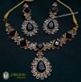 GOLD PLATED POLKIE & SESMI STONES DECENT LOOK NECKLACE SET